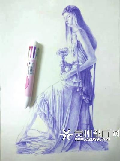 """黔西""""神笔马良""""刘古的圆珠笔画作"""
